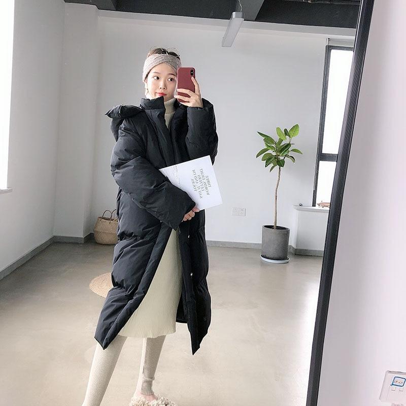 Femmes Manteau rembourré khaki Black Coréenne Blanc Impression Automne Nouvelle white Pardessus Casual Coton Solide Hiver Paresseux Long Mooirue Couleur pnqYvaIn