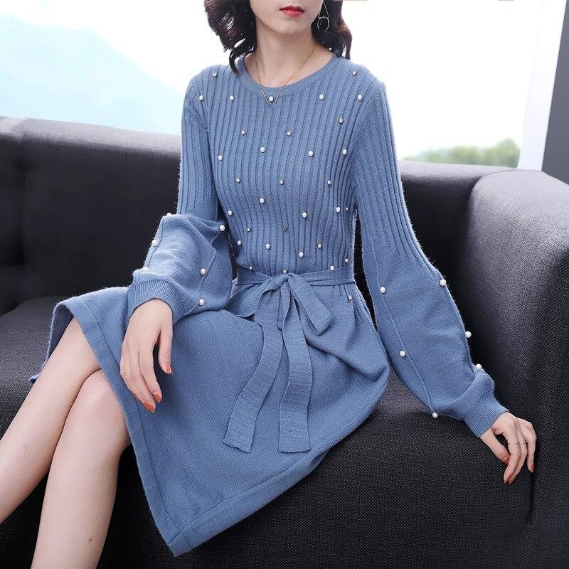 Chic 2018 Winter Women Pearl Knit Dress O Neck Long Sleeve Thick Sweater Dress Female Slim Midi Work Dress