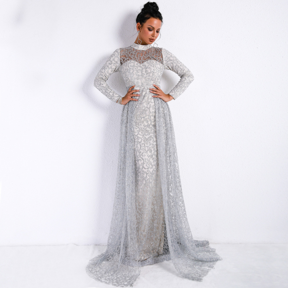 4aab1d9bae24b Vivian's Bridal 2018 Vitage Front Cut-out Detachable Train Beach Evening  Dress Long Sleeve High Neck Sequin Lace Party Gown