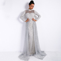 Vivian's Bridal 2018 Vitage Front Cut out Detachable Train Beach Evening Dress Long Sleeve High Neck Sequin Lace Party Gown