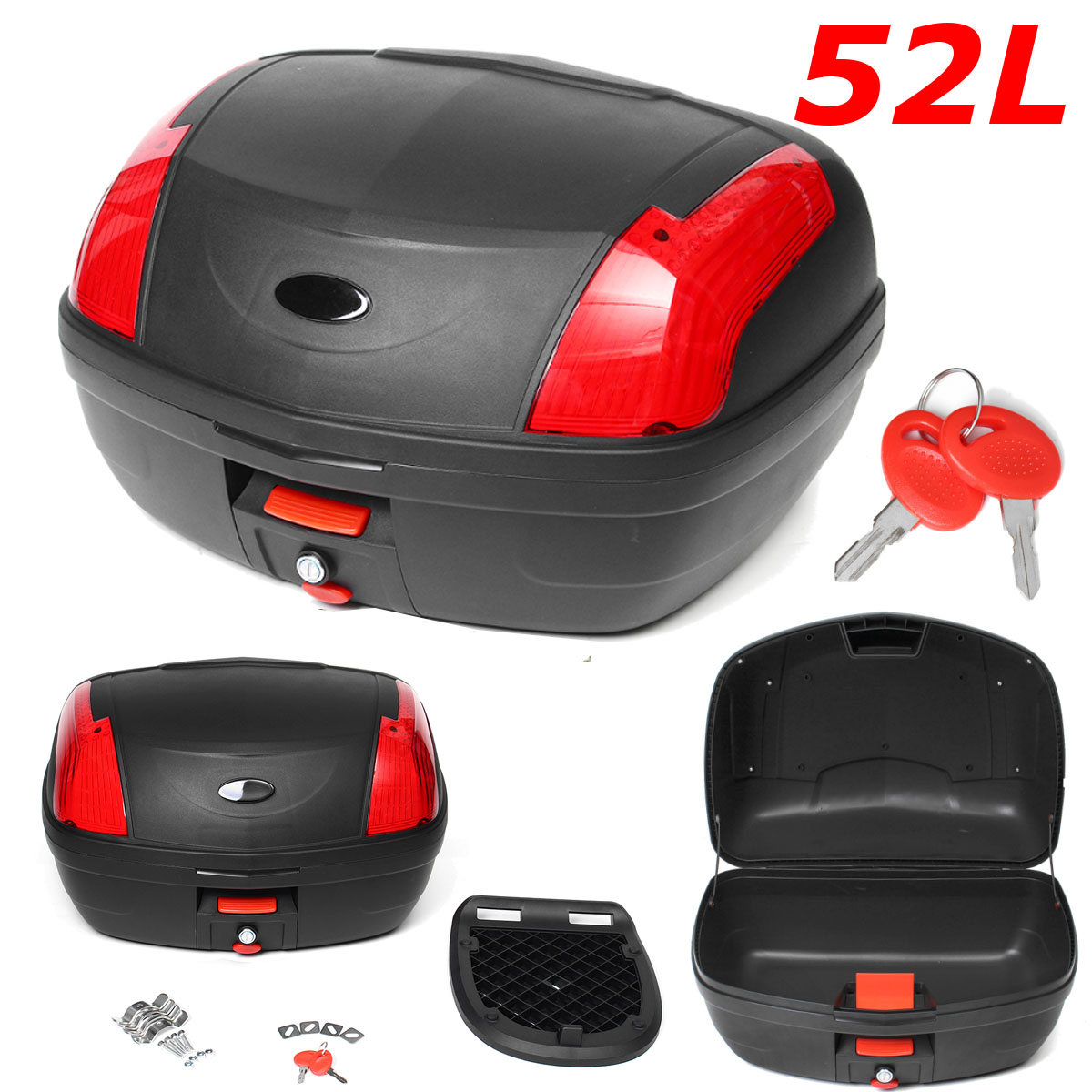 52L Secure Latch Black Motorcycle Trunk With Lock Black Scooter Topbox Durable Rear Storage Luggage Top Box Case 55x42x32cm New52L Secure Latch Black Motorcycle Trunk With Lock Black Scooter Topbox Durable Rear Storage Luggage Top Box Case 55x42x32cm New