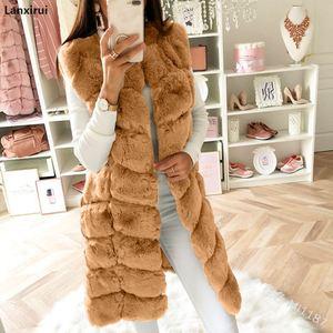 Image 5 - Warm Faux Fur Fox Vest Women Winter Casual Artifical Fur Warm Coat Super X Long Waistcoat Female Faux Furs Wholesale