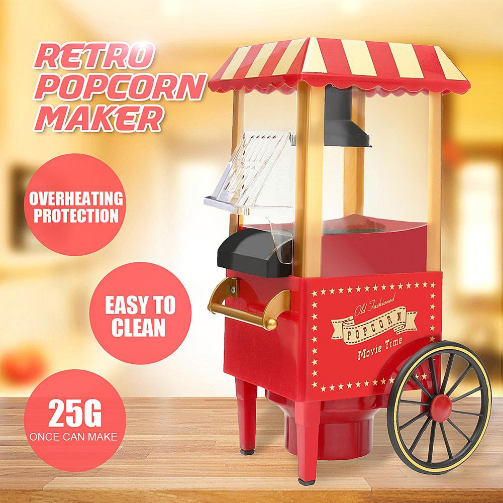 220V Portable Retro Electric Popcorn Maker Automatic Mini Pop Corn Machine Household DIY Popper Machine Home Party Tool EU Plug