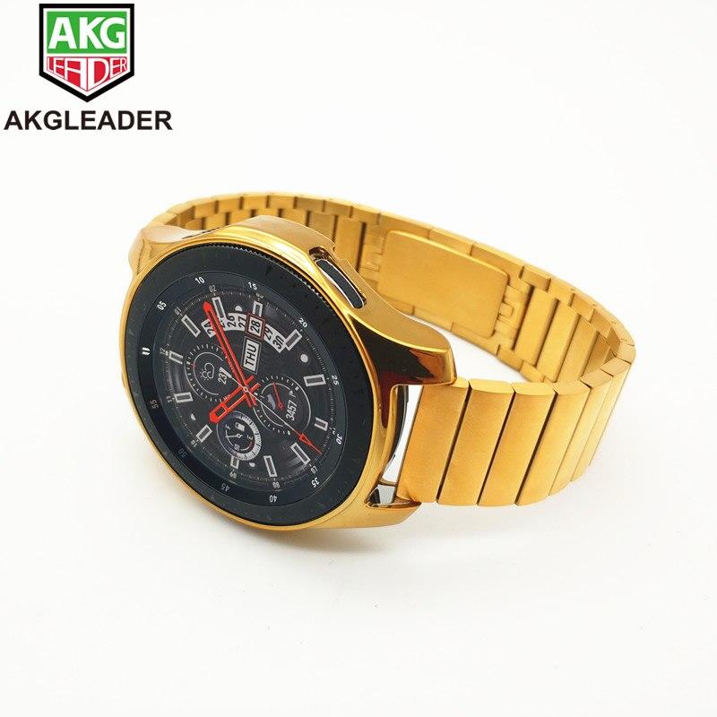Bracelet de montre de Style or pour Samsung Galaxy montre 46mm lien bracelet en acier inoxydable avec étui en TPU bracelet de montre pour Samsung Gear S3