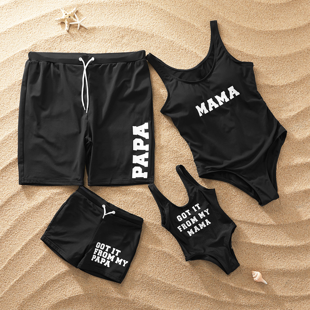 2019 Fashion Family Matching Swimsuit Mom Girls One-piece Swimwear Men Boys Swim Trunks Letter Swimwear Hot Parent-kids Bikini