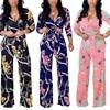 Plus Size Womens V-Neck Long Sleeve Jumpsuit arrival Ladies Autumn Clubwear Floral Print Playsuit Party Jumpsuit Long Trousers 1