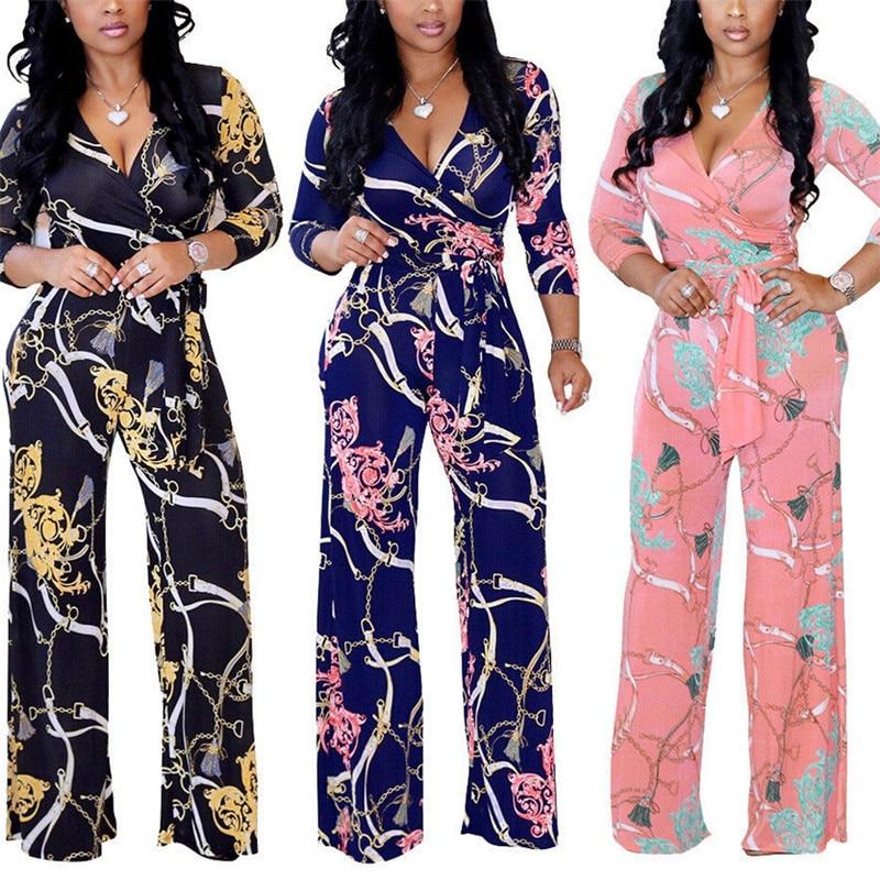 Plus Size Womens V-Neck Long Sleeve Jumpsuit Arrival Ladies Autumn Clubwear Floral Print Playsuit Party Jumpsuit Long Trousers