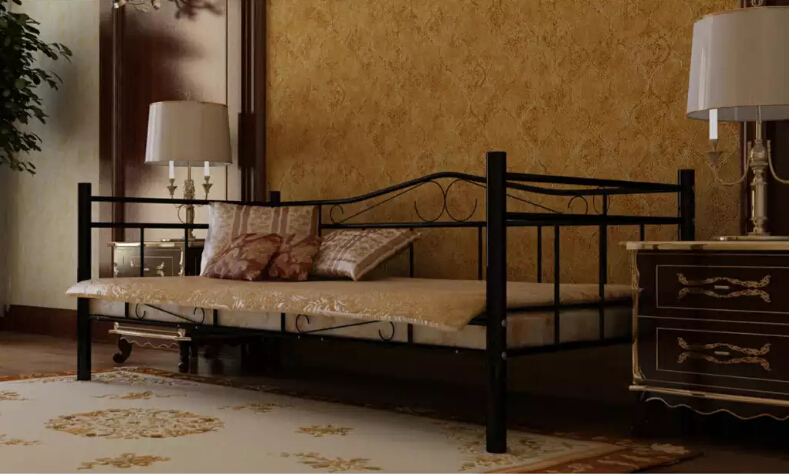 Black Single Day Bed Metal Beds Home Furniture iron bed single/double bed wholesale 90 x 200 cm