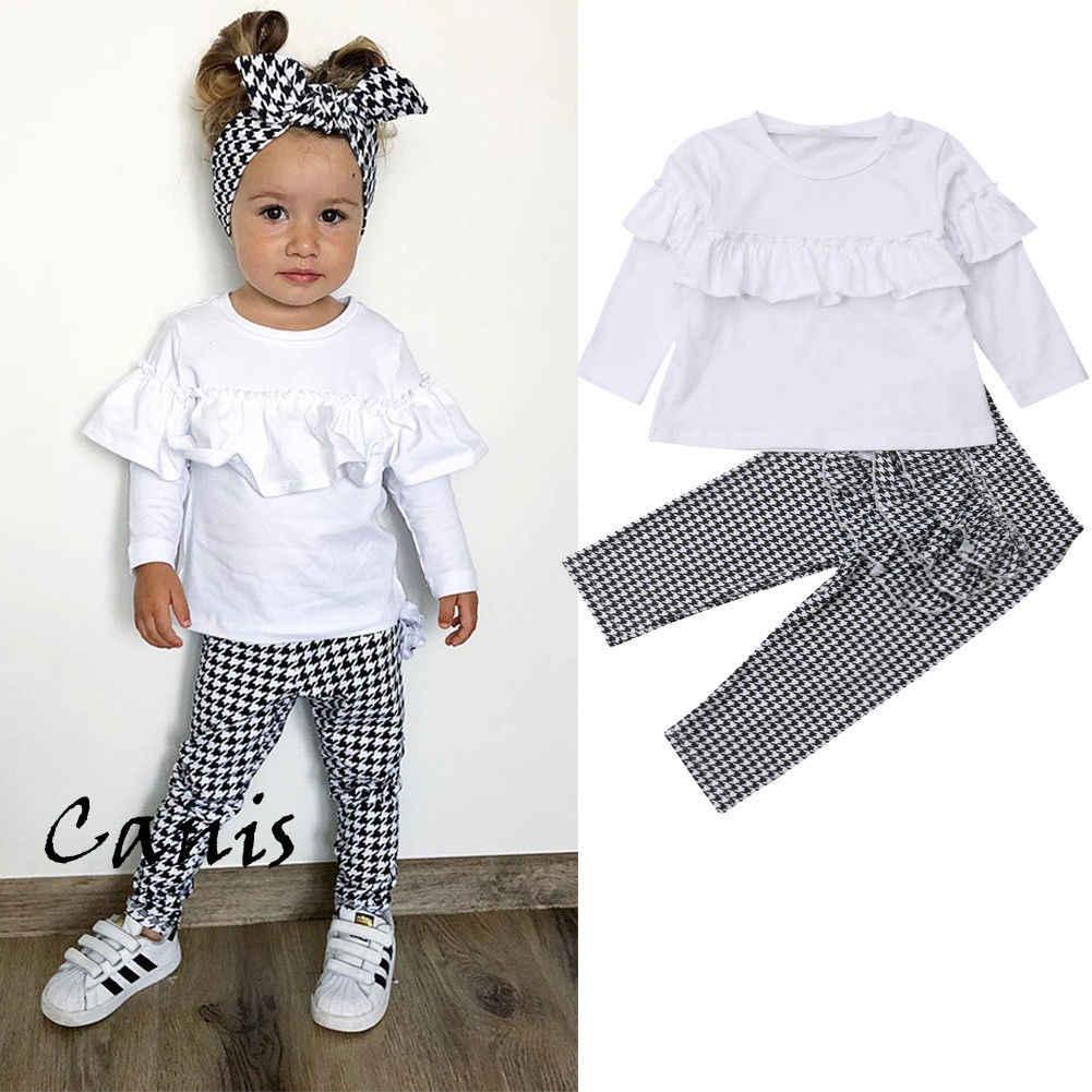 7ace5046f6261 Girls Clothes Set Autumn Flouncing Shirt Pants 2pcs Children Clothing Set  Fashion Kids Girl Outfits Plaid