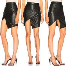 Fashion Women High Waisted Bodycon PU Leather Strench Pencil Mini Skirts Clubwear Sexy Vestidos