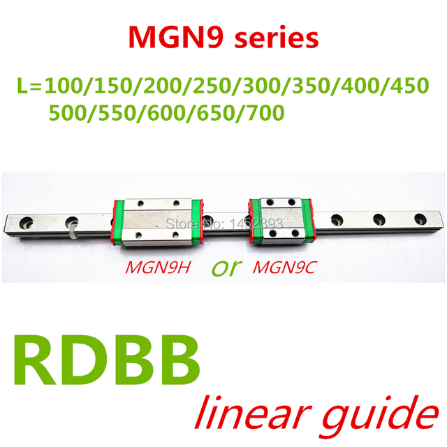 NEW 9mm Linear Guide MGN9 100 150 200 250 300 350 400 450 500 550 600 700 mm linear rail + MGN9H or MGN9C block 3d printer CNC
