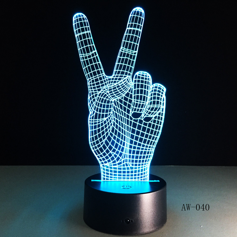 Novelty Gift Victory Yeah Finger 3D Lamp Night Light For Children LED Illusion Atmosphere Sleep Light For Champion Friend AW-040