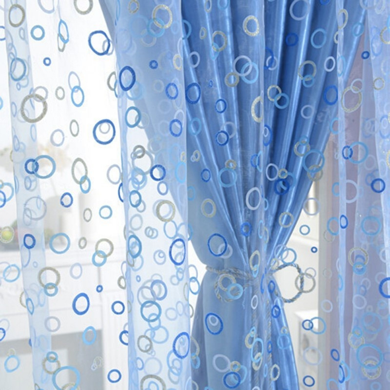 100*270cm Creative Round Printing Gauze Screens Transparent Gauze Curtain Draping Assorted Polyester Girls Room Curtain Decor