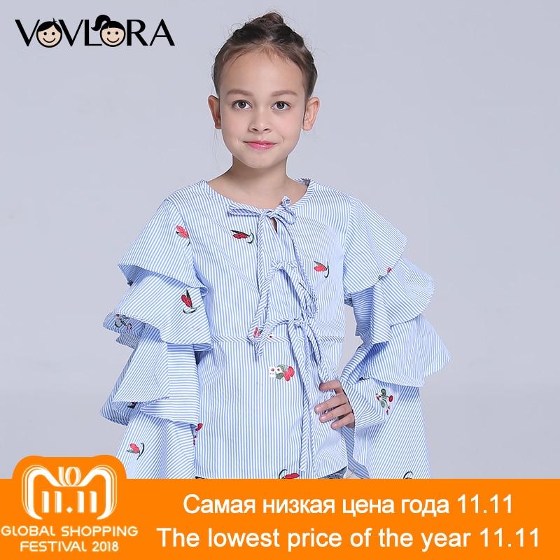 цены на Children Blouses O-neck Woven Striped Gilrs Blouse Shirt Long Sleeve Floral Kids Clothes Spring 2018 Size 7 8 9 10 11 12 Years в интернет-магазинах