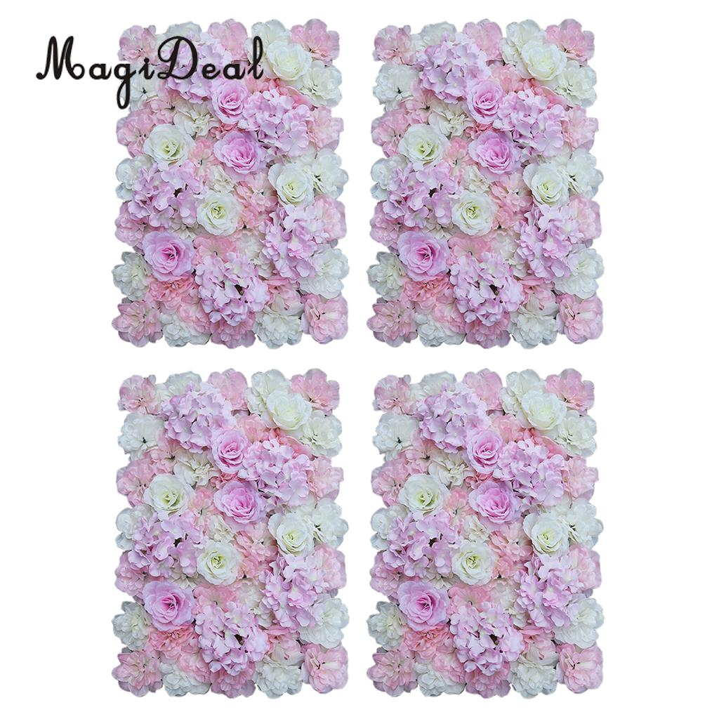 Romantic 4pcs Artificial Rose Hydrangea Flower Blossom Wall Panels Wedding Party Hanging Decor Background Pink White