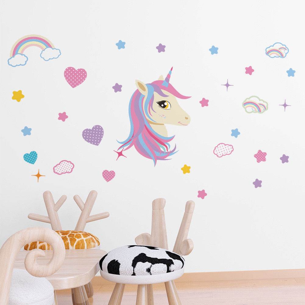 US $2.14 10% OFF|Unicorn Stars Hearts Sticker Rainbow Wall Decal Girls  Bedroom Nursery Home Decor-in Wall Stickers from Home & Garden on AliExpress