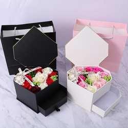 Искусственные розы цветы ожерелье Свадьба День рождения розовый, черный подарок коробка в форме сердца юбилей, свадьба