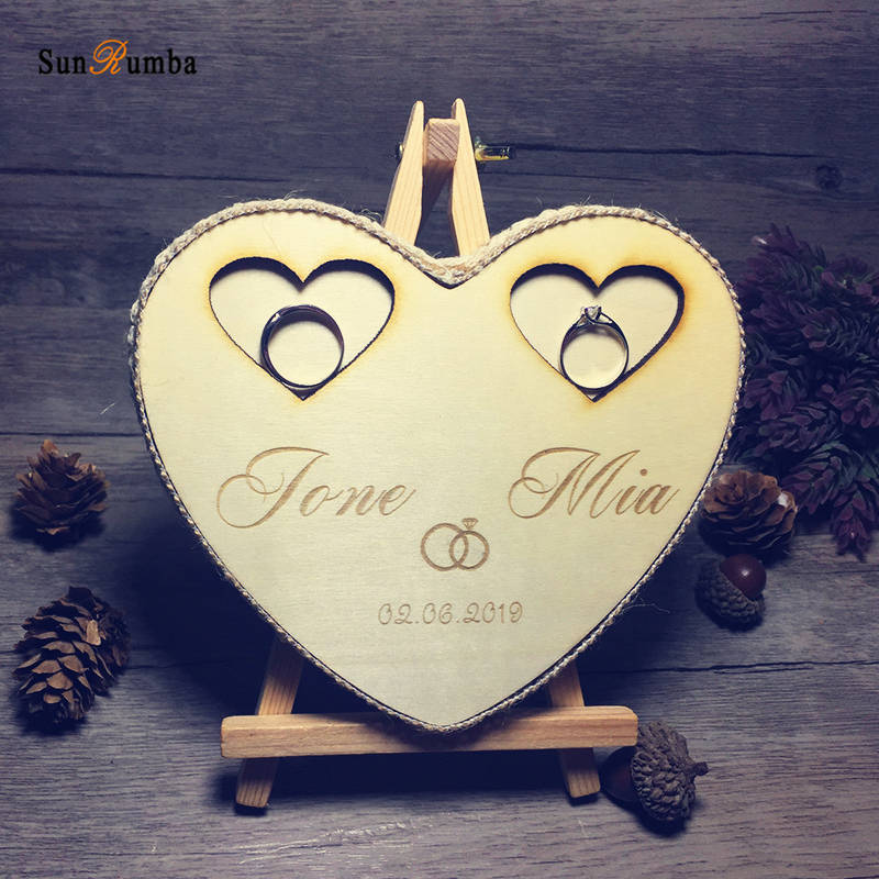 1pcs Rustic Custom Personalized Ring Bearer Pillow Wedding Decor Vintage Party Engagement Wedding Decoration Wooden Ring Holder in Party DIY Decorations from Home Garden