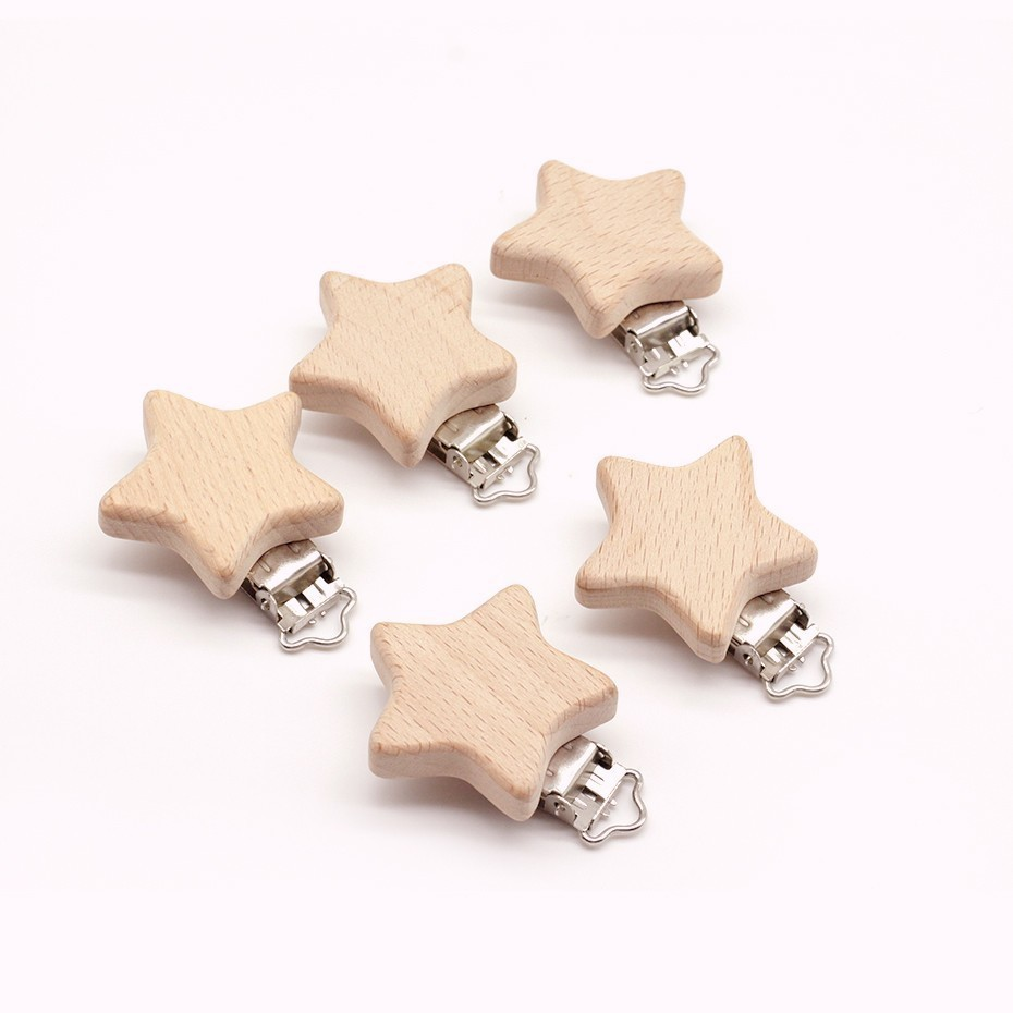 10PCs Beech Wood Pacifier Clip Animal Small Elephant Bird Heart-shaped Stars Baby DIY Essential Nipple Chain Accessories