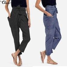 b295e1725 Celmia Plus Size Mulheres Cintura Alta Das Calças 2018 Outono Calças  Casuais Com Cinto Bow Irregular