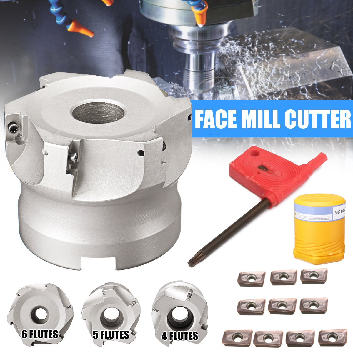 New 40mm/50mm/63mm Face Mill CNC Milling Cutter Head + 10x APMT1135 Carbide Inserts 40CrMo Carbide AlloyNew 40mm/50mm/63mm Face Mill CNC Milling Cutter Head + 10x APMT1135 Carbide Inserts 40CrMo Carbide Alloy