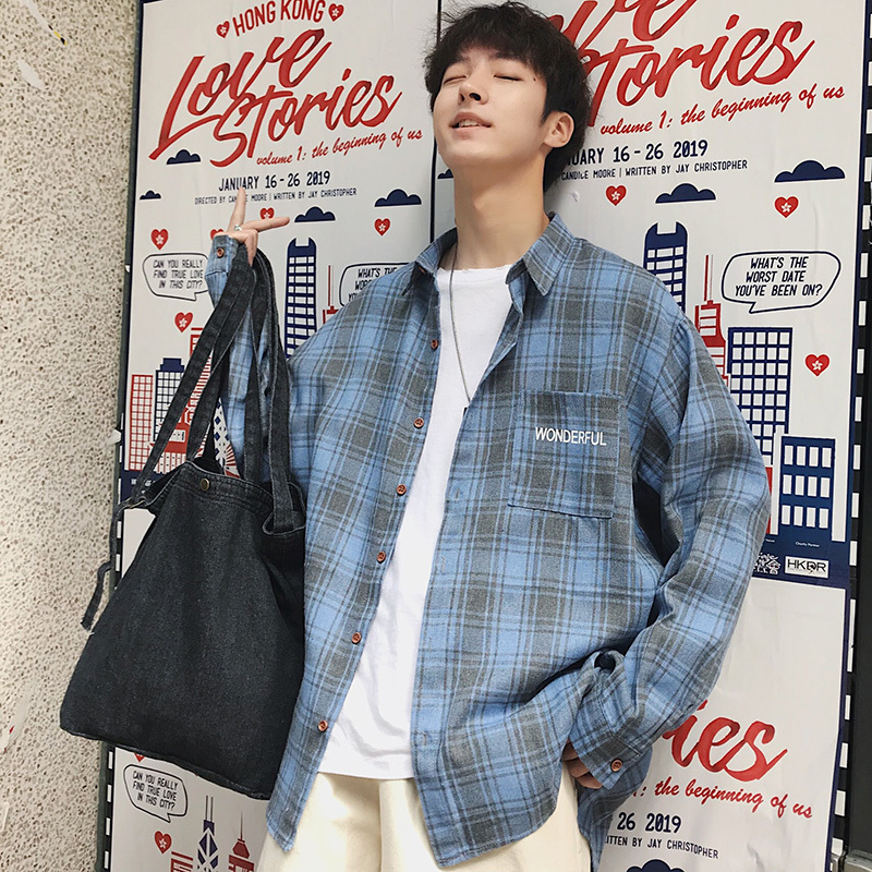 Men's Shirt 2019 Spring New Plaid Print Loose Cotton Casual Long Sleeve Slim Personality Youth Menswear