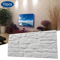 10Pcs Stickers 3D Brick Wallpaper Removable Peal and Stick PE Foam Wall Sticker for Living Room Home Office Wall Decor