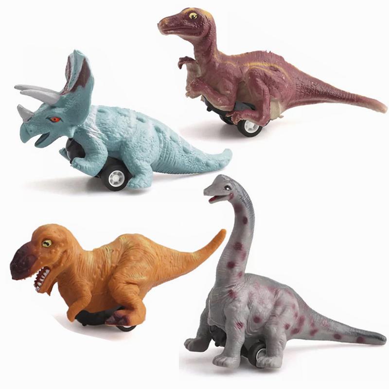 Rechtdoorzee Dinosaurus Model Pull Back Auto Speelgoed Tyrannosaurus Rex Triceratops Brachiosaurus Maiasaura 4 Pack Dinosaurus Speelgoed Pull Back Voertuig Goederen Van Hoge Kwaliteit