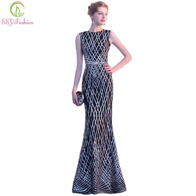 a781ef8f9bf6 SSYFashion New Mermaid Prom Dress Sexy Slim Black Sleeveless Sequins  Floor-length Fishtail Formal Party Gown Robe De Soiree