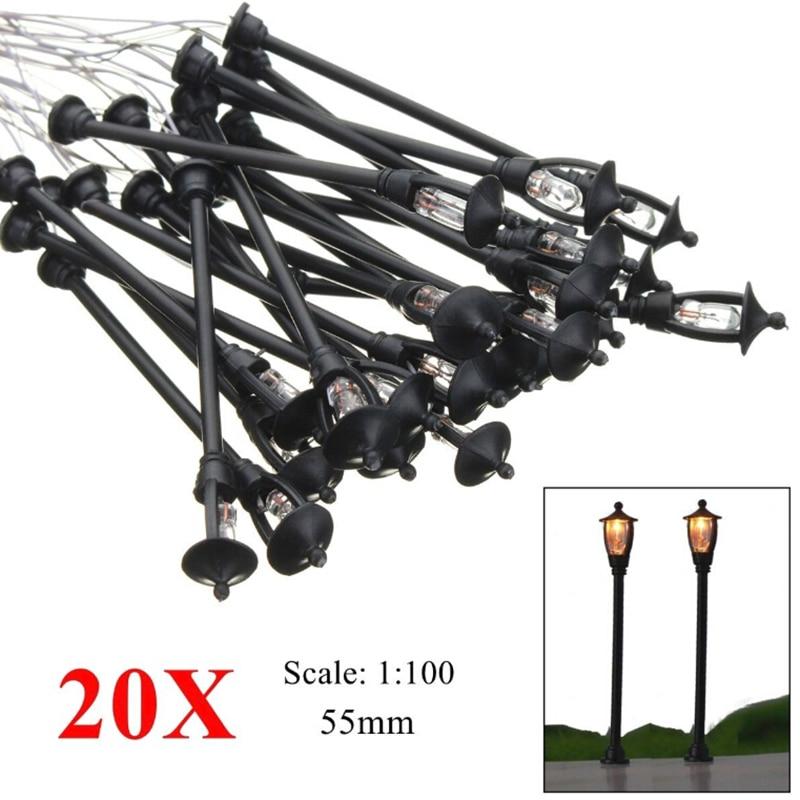 20pcs 1:100 HO Scale Miniature LED Street Lamp Light Model Single Head Black