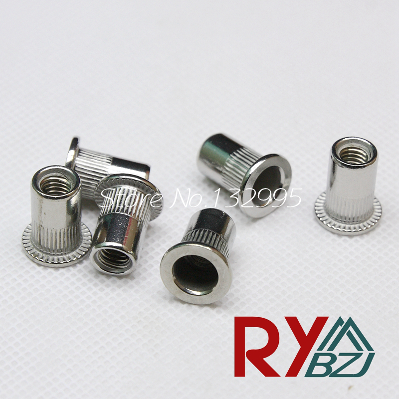 Rivet Nut Stainless Steel Flat head Insert nut Blind rivet nut M3 M4 M5 M6 M8 M10 M12 Nutsert for paneling Sheet metal nut