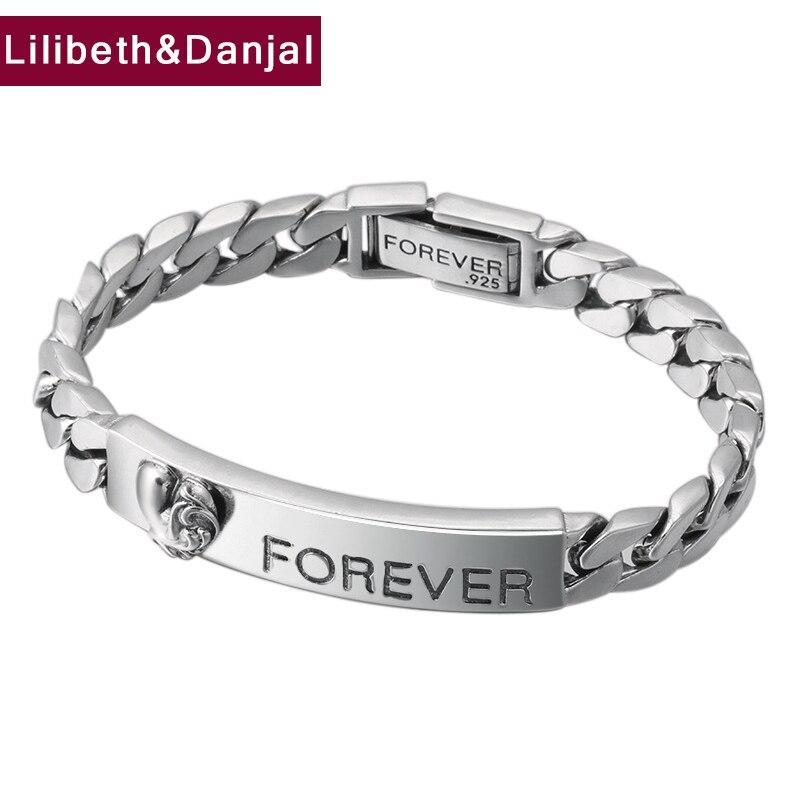 Forever Bracelet 100 925 Sterling Silver Jewelry Men Women Letter Love Couple Chain Bracelet Bangle 2018