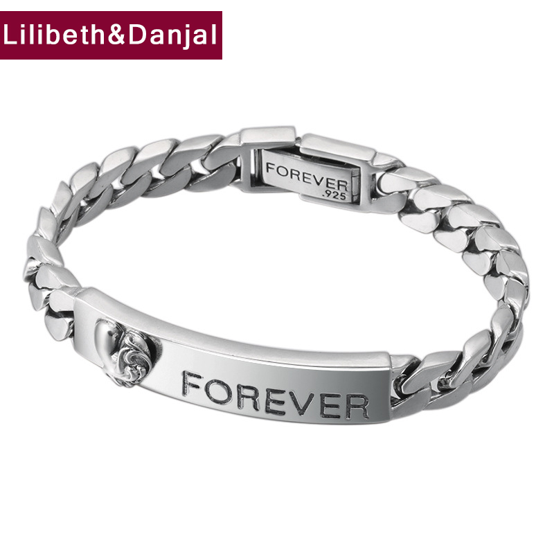 Forever Bracelet 100% 925 Sterling Silver Jewelry Men Women Letter Love Couple Chain Bracelet Bangle 2018 friendship Gift B30