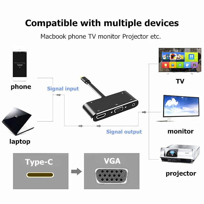 Image 2 - Trumsoon Type C to 4K HDMI VGA 3.5 Audio Adapter Type C PD Charging USB3.0 Hub for MacBook Samsung S8 Huawei P20 Xiaomi 9