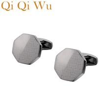Qi Wu Laser Pattern Shirt Cufflinks for Men Jewelry Brand Wedding Groom Buttons Metal Copper Cuff Iinks Mens Custom Gifts