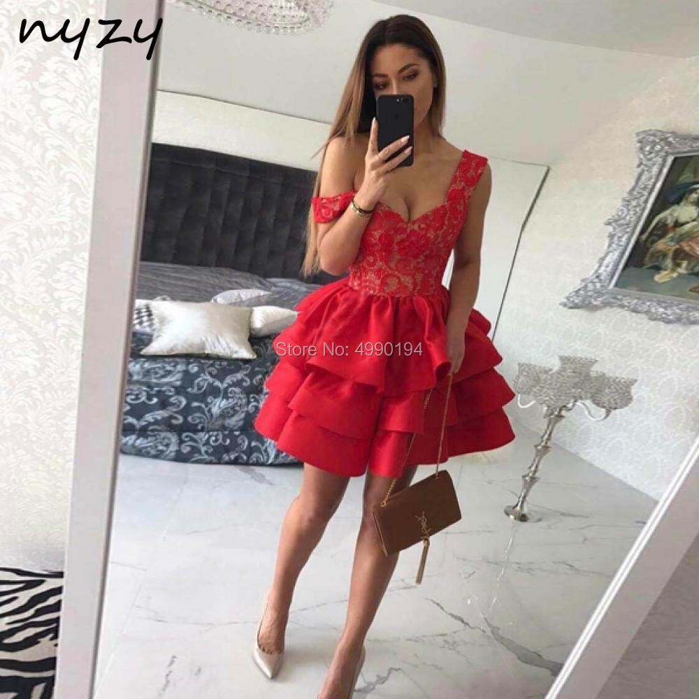 Two Tone Short   Cocktail     Dress   2019 Red Taffeta Tiered Ruffles Puffy Ball Gown Party   Dress   prom graduation homecoming NYZY C52