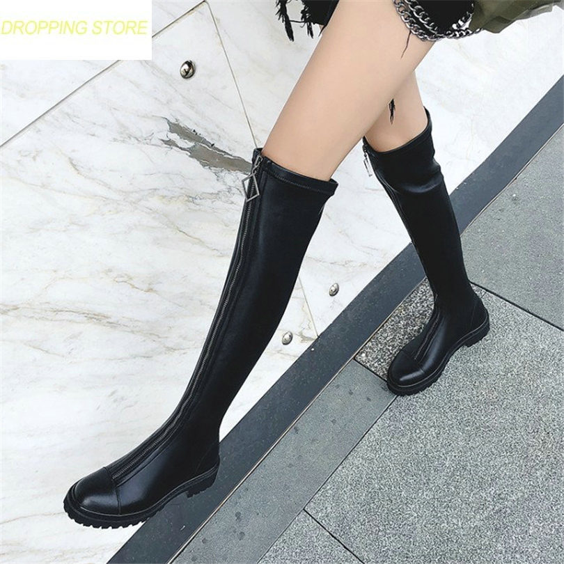 Thigh High Boots Women Black Leather Over The Knee Booties Med Heel Tall Shaft Punk Sneakers Chic Riding Greepers new 2017 women fashion over knee high boots poin toe black leather booties thick heel tall thigh high glaiator booties dress