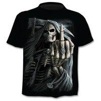Новинка, мужские футболки с черепом, брендовые, в стиле панк, с черепом, 3dt-футболки, мужские топы, в стиле хип-хоп, с 3d принтом, футболка punisher, П...