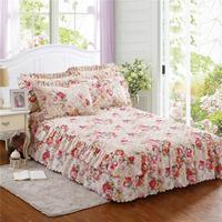 High Quality Winter Thickened Floral Print Queen Size Chandler Bed Skirt Quilted Style 3 Kinds Bed Skirt Without Pillowcases