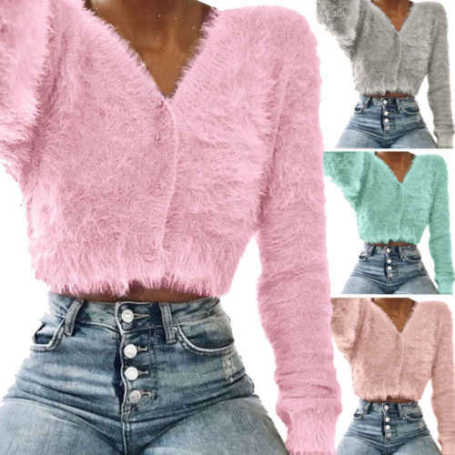 042f17468e0 Newly Women Solid Color Fluffy Faux Fur Sweater Buttons V Neck Long Sleeve  Jumper Outwear Ladies