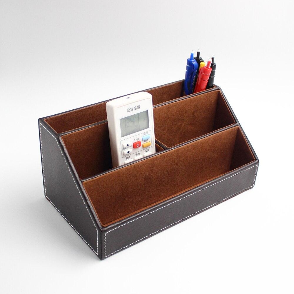 PU cuir télécommande organisateur boîte bureau divers papeterie stockage titulaire porte-stylo conteneur fournitures de bureau
