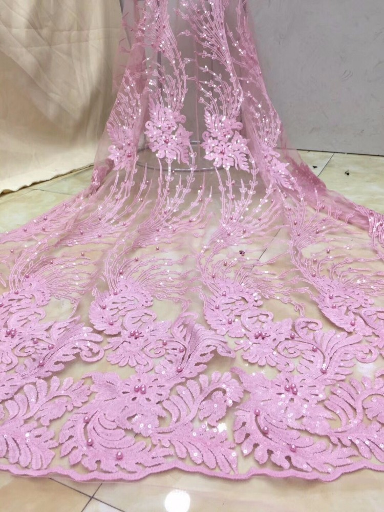 2019 Latest African Lace Fabric High Quality French Net Lace Fabric Embroidery Nigeria Lace Women Wedding
