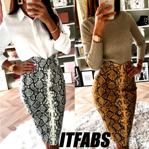 Hot Chic Womens Snake Skin Printed Bodycon Skirt High Waist Party Club Cocktail OL Skirt Pencil Stylish New