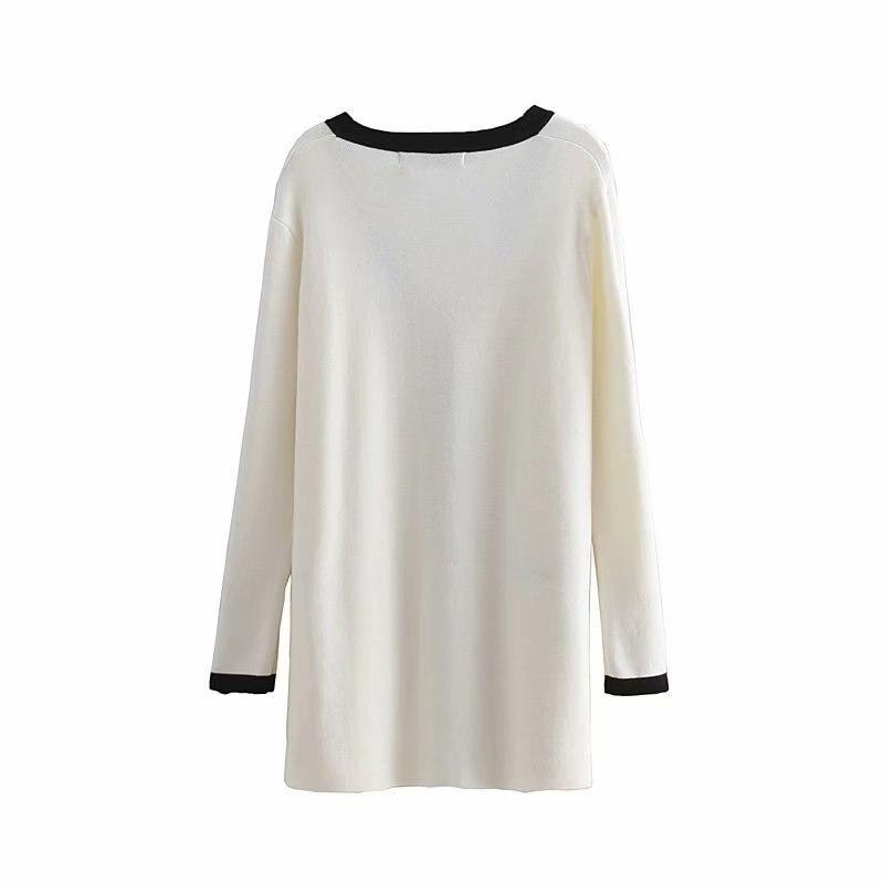 Kadın Giyim'ten Hırkalar'de Kadın Casual Kazak V Yaka Tek Göğüslü Örgü Hırka Uzun Kollu Beyaz Siyah Kazak 2019 Bahar giyim'da  Grup 2