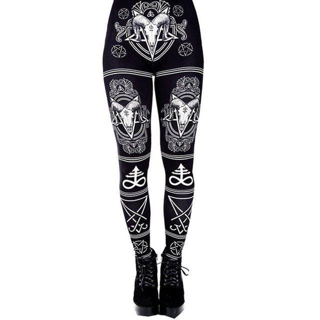 Summer Women Fitness Leggings Streetwear Gothic Print Casual Leggins Push Up Sexy Plus Size 5XL Workout Black High Waist Legging