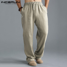 Straight Trousers Pants Linen Loose Chinese-Style Men Spring Elastic-Waist Casual Thin