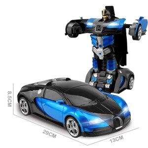Image 3 - 2,4 Ghz Индукционная Трансформация Робот автомобиль 1:14 деформация RC автомобиль игрушка светодиодный светильник Электрический робот модели fightent игрушки подарки
