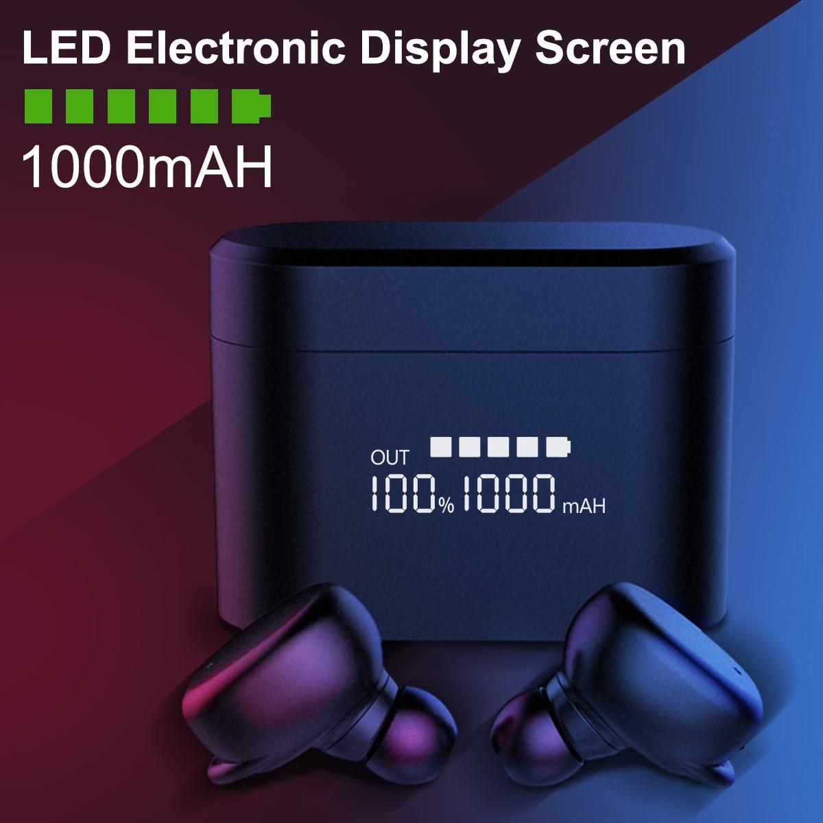 Bluetooth 5.0 écouteurs sans fil écouteur LED écran d'affichage de l'électricité casque casque de jeu téléphone 1000 MAH boîte de charge