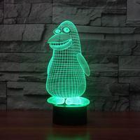 Pinguim Modelagem 3d Luz Da Noite 7 Cor Variável-cor Da Lâmpada Led Luminárias de Cabeceira Presente Decorativo Levou Usb 3d