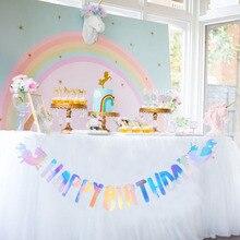 Iridescent Foil Unicorn Party Happy Birthday Banner Bunting Garland String Baby Kids Rainbow 1st Supplies